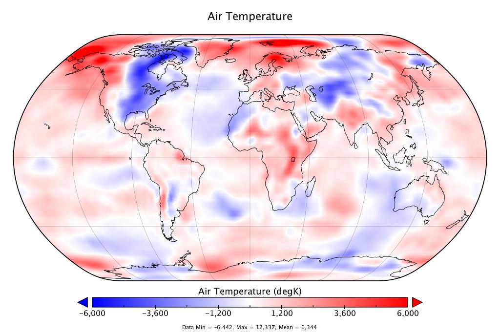 Température mondiale :  +0,344°C en novembre 2018