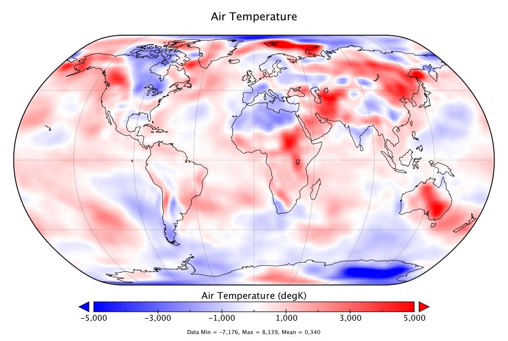 Température mondiale :  +0,34°C en janvier 2019