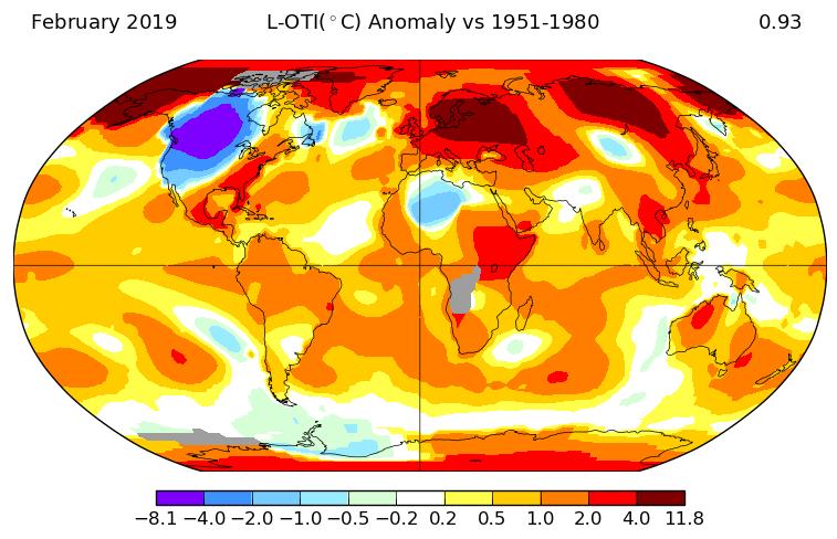 Température mondiale : février 2019 au 3e rang, selon la NASA
