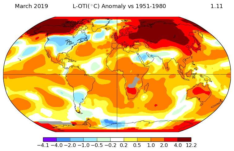Température mondiale : mars 2019 au 3e rang, selon la NASA