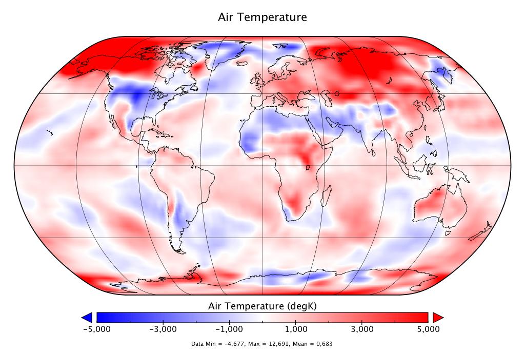 Température mondiale :  2e mois de mars le plus chaud des relevés, d'après NCEP-NCAR