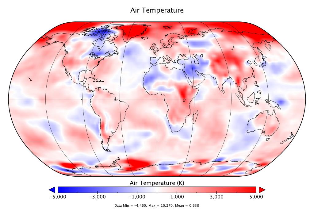 Température mondiale :  2e mois d'avril le plus chaud des relevés, d'après NCEP-NCAR