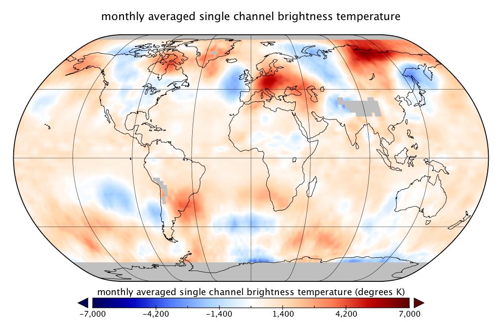 Température globale record en juin d'après les données satellitaires de RSS