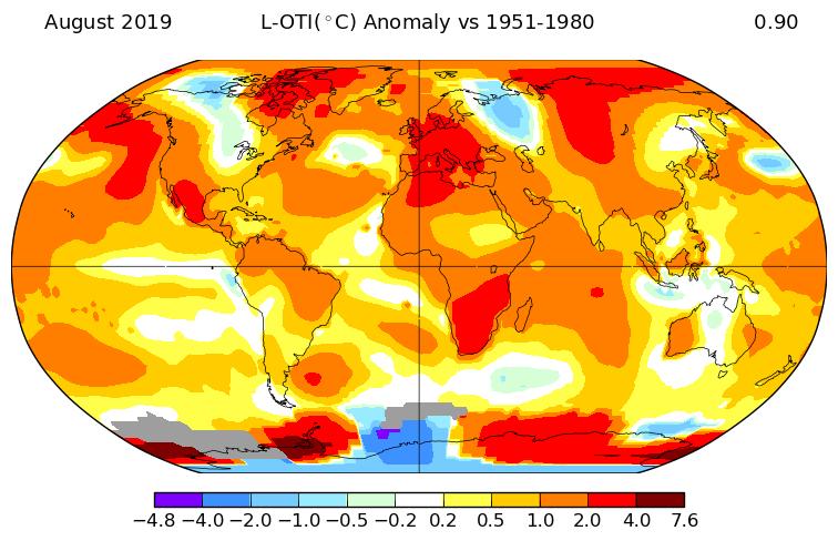 Température mondiale : record de chaleur pour la période juin-juillet-août 2019, d'après la NASA