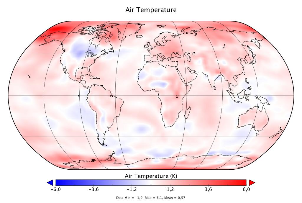 Température mondiale :  2019, deuxième année la plus chaude, d'après NCEP-NCAR