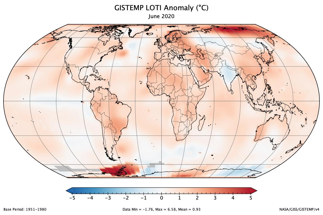 Bilan de température globale pour juin 2020 (definitif)