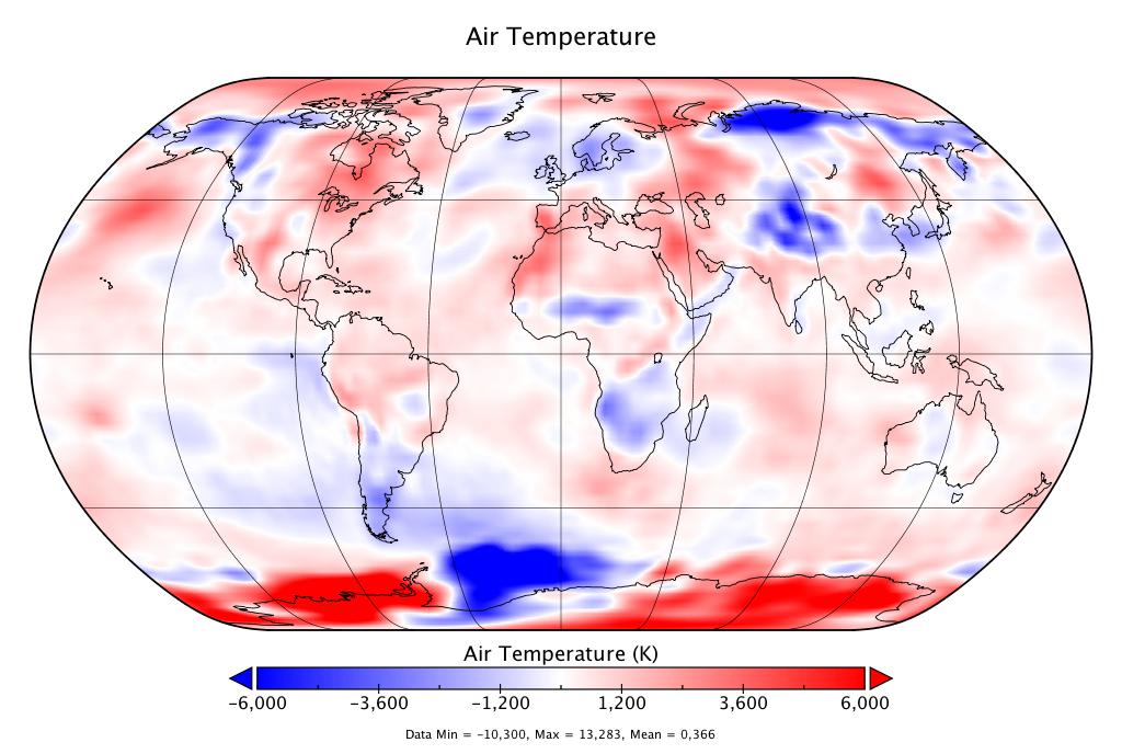 Température mondiale :  +0,366°C en juillet, d'après NCEP-NCAR