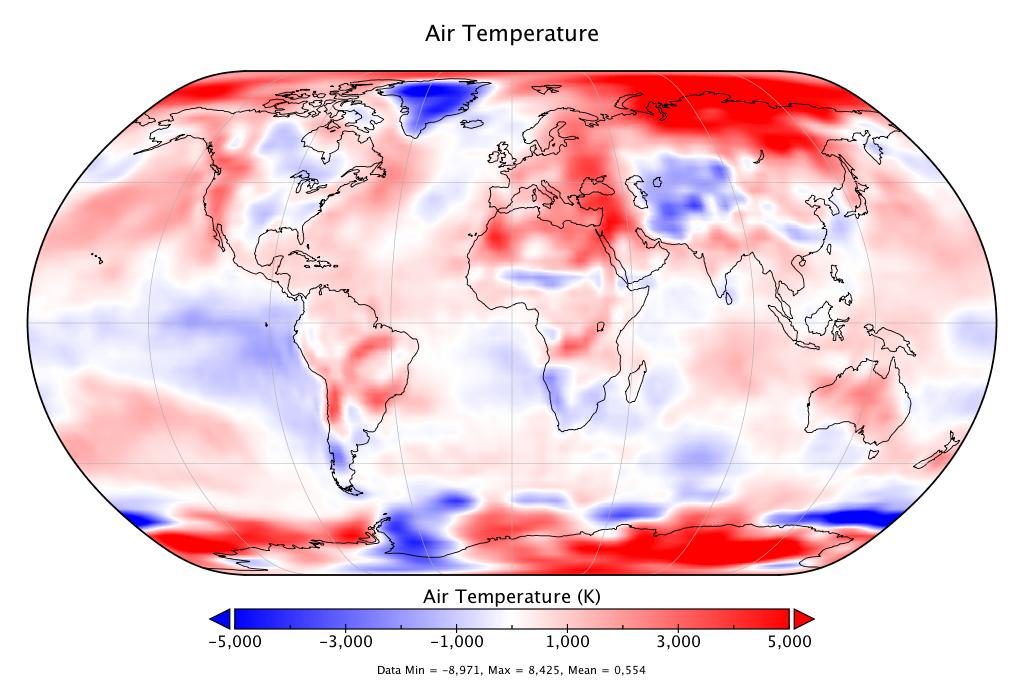 Température mondiale :  +0,554°C en septembre, d'après NCEP-NCAR