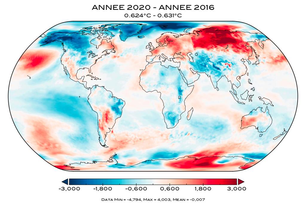 Température mondiale : 2020 comparée à 2016