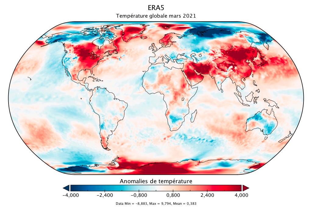 Température mondiale :  bilan d'ERA5 pour mars 2021