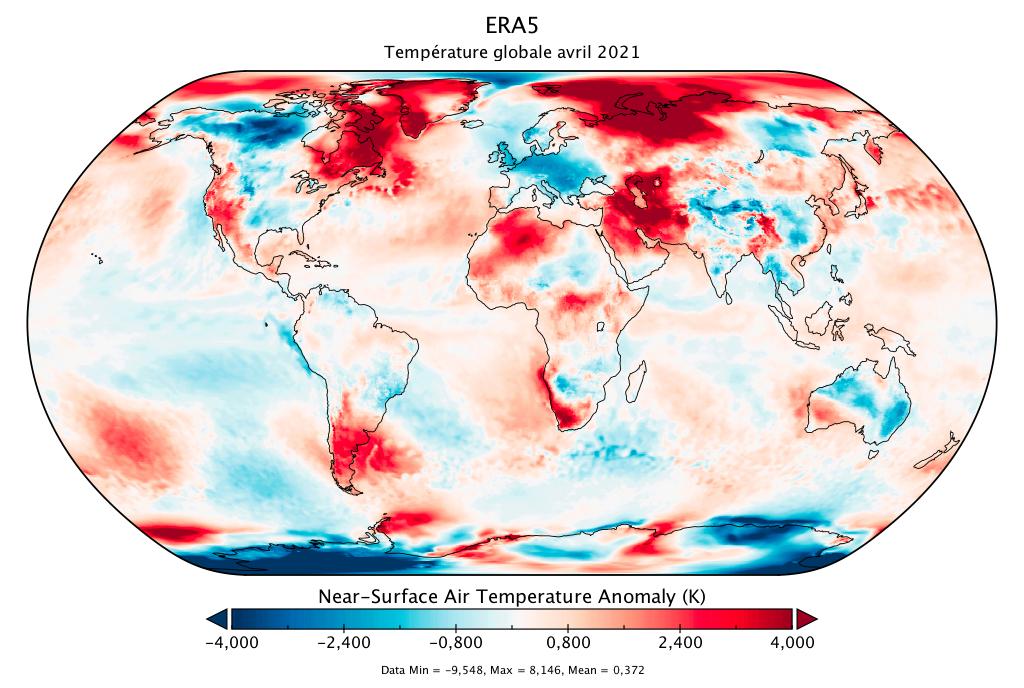 Température mondiale :  bilan d'ERA5 pour avril 2021