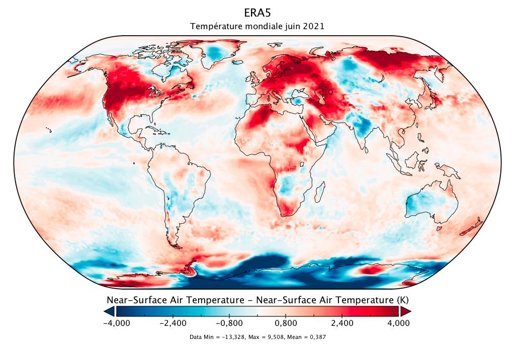 Température mondiale :  bilan d'ERA5 pour juin 2021